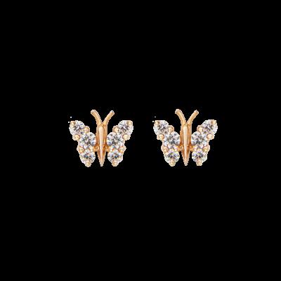 Small Rose Gold Flutter Earrings
