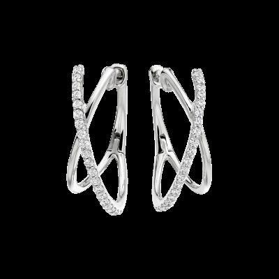 White Gold Kiss Diamond Hoop Earrings