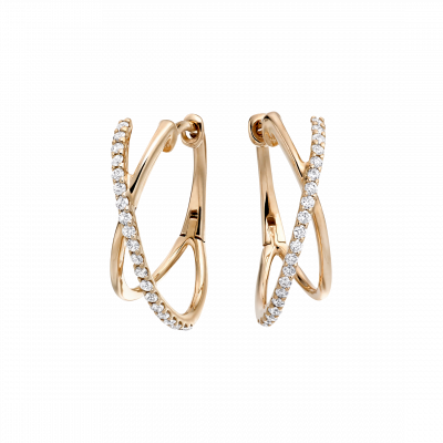 Rose Gold Kiss Diamond Hoop Earrings
