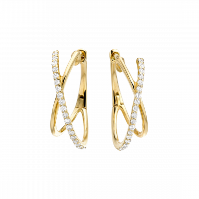 Yellow Gold Kiss Diamond Hoop Earrings