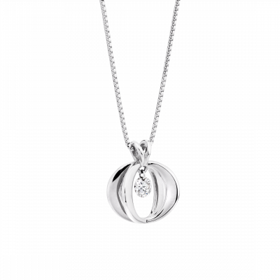 White Gold Cinderella Diamond Pendant