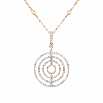 Saturn Diamond Pendant in Rose Gold