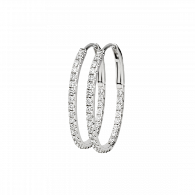 Small White Gold and Diamond Hoop Earrings