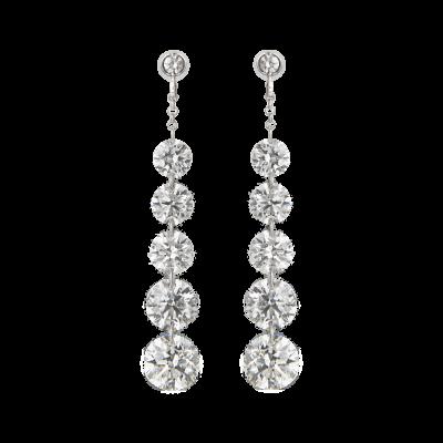 5 Stone Diamond Suspense Drop Earrings