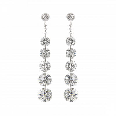 Suspense Diamond Drop Earrings 3.06 carats total