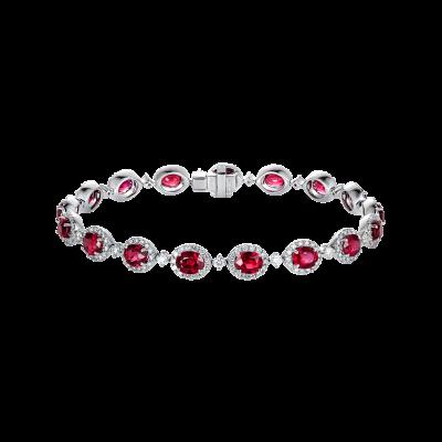 Oval Cut Ruby and Diamond Regal Bracelet