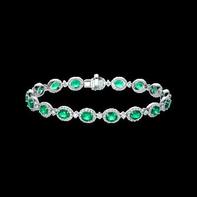 Oval Cut Emerald and Diamond Regal Bracelet