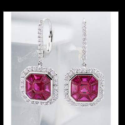 Ruby and Diamond Gatsby Drop Earrings