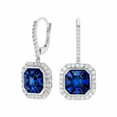 Blue Sapphire and Diamond Gatsby Drop Earrings