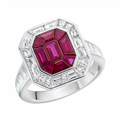 Large Ruby and Diamond Gatsby Ring