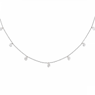 Round Brilliant Cut Diamond Suspense Necklace