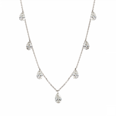 Pear Cut Diamond Suspense Necklace