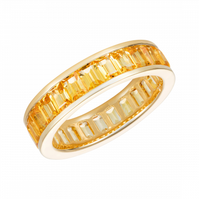 Emerald Cut Yellow Sapphire and Yellow Gold Eternity Ring