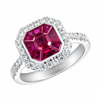 Small Ruby and White Diamond Gatsby Ring