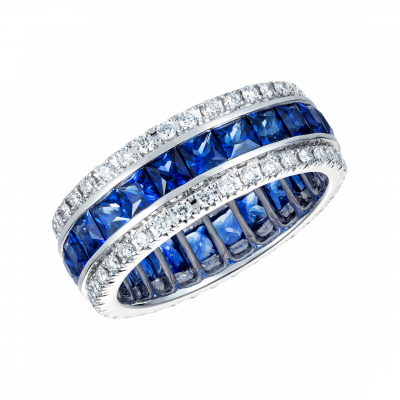 French Cut Blue Sapphire and Diamond Triple Band Eternity Ring
