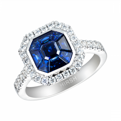 Small Blue Sapphire and Diamond Gatsby Ring