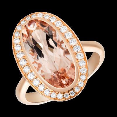 Oval Cut Morganite and Diamond Elegance Ring