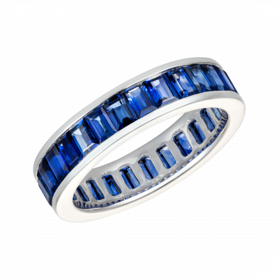 Emerald Cut Blue Sapphire Eternity Ring