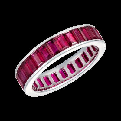 Emerald Cut Ruby Eternity Ring