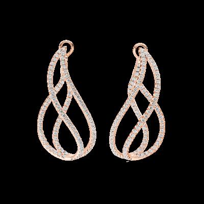 Rose Gold and Diamond Flame Hoop Earrings