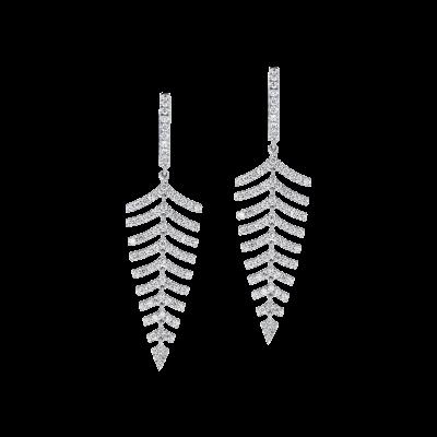 Fern Diamond Earrings in White Gold
