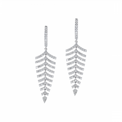 White Gold Diamond Fern Drop Earrings