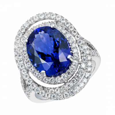Oval Cut Tanzanite and Diamond Spiral Ring