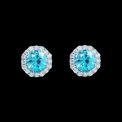Zircon and Diamond Regal Stud Earrings