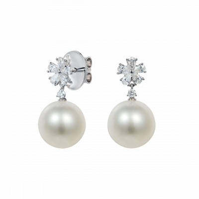 Beauchamp White Pearl and Diamond Earrings