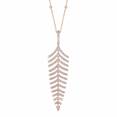 Fern Diamond Pendant in Rose Gold