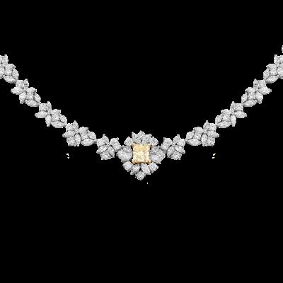 Chrysanthemum Yellow and White Diamond Necklace