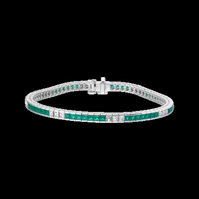 Carré Cut Emerald and Diamond Deco Bracelet