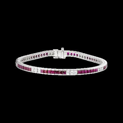 Carré Cut Ruby And Diamond Deco Bracelet