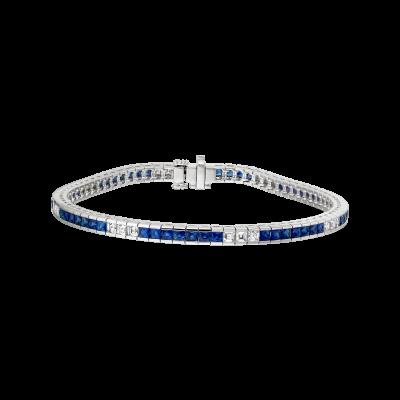 Carré Cut Sapphire and Diamond Deco Bracelet