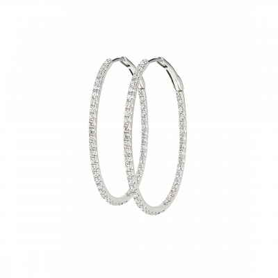 0.97 Carat Diamond Hoop Earrings