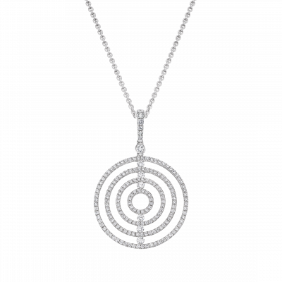 Saturn Diamond Pendant in White Gold