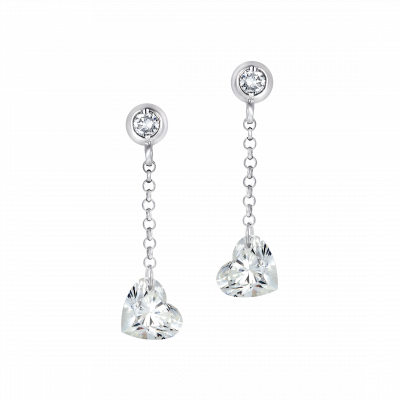 Heart Cut Diamond Suspense Drop Earrings