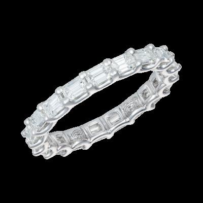 Emerald Cut Claw Set Eternity Ring