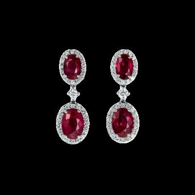 Oval Cut Ruby and Diamond Regal Drop Earrings