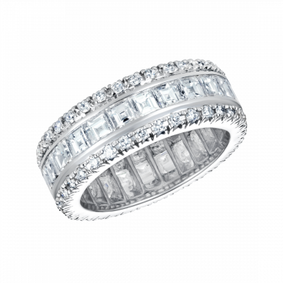 Eternity Carré and Brilliant Cut Diamond Ring