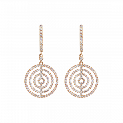 Small Rose Gold and Diamond Saturn Drop Earrings
