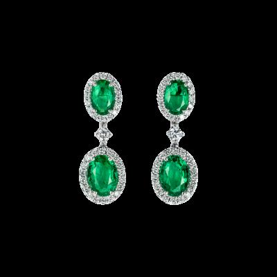 Oval Cut Emerald and Diamond Regal Drop Earrings