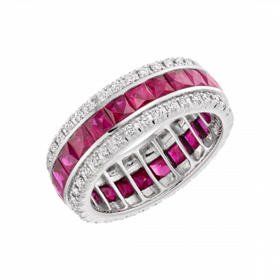 Carré Cut Ruby and White Diamond Eternity Ring