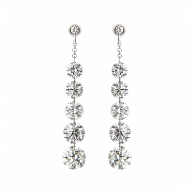 Suspense Diamond Drop Earrings 4.06 carats total