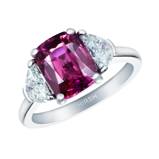 Magenta Sapphire Trio Ring