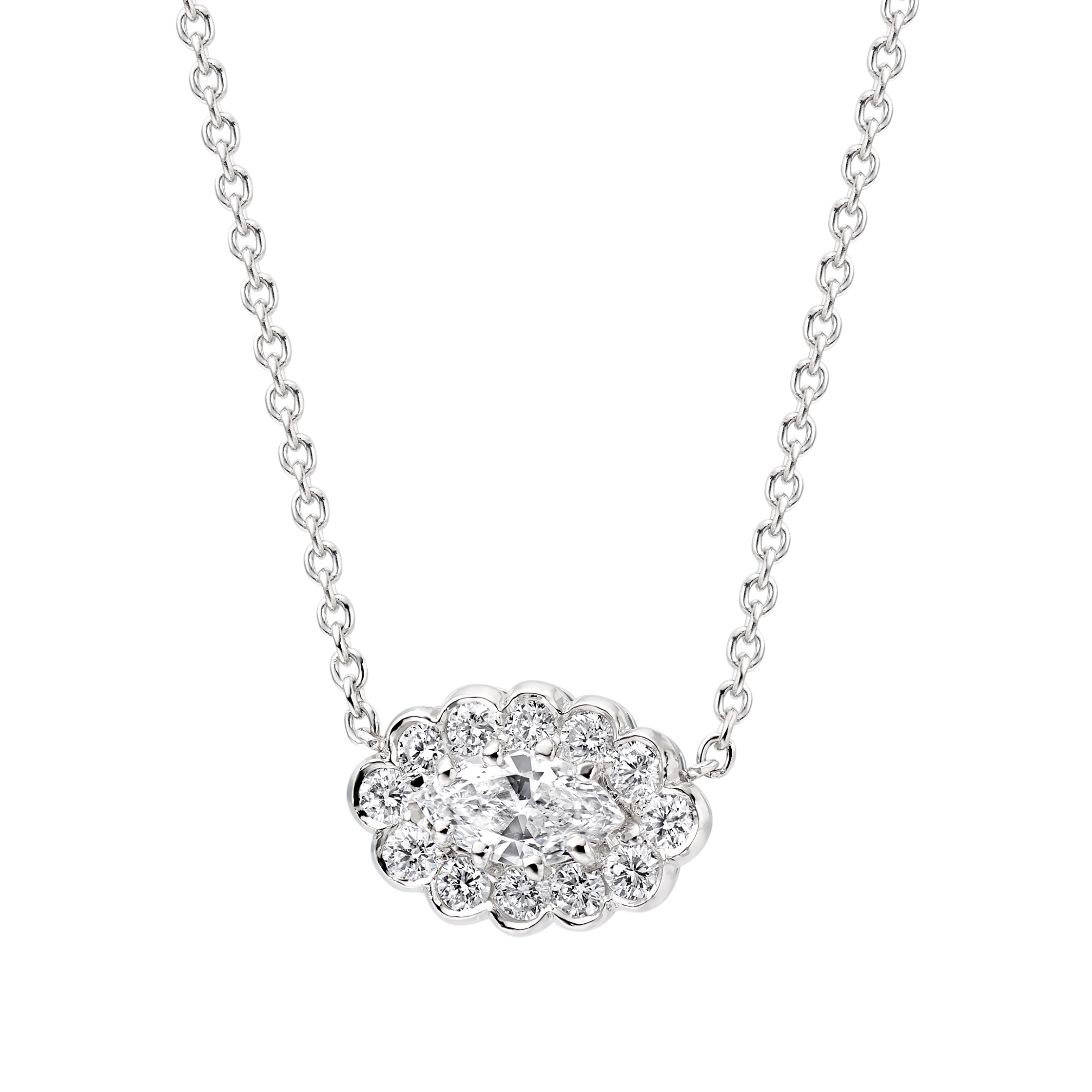 pendant marquise necklace diamond solitaire gold setting single white shape in bale