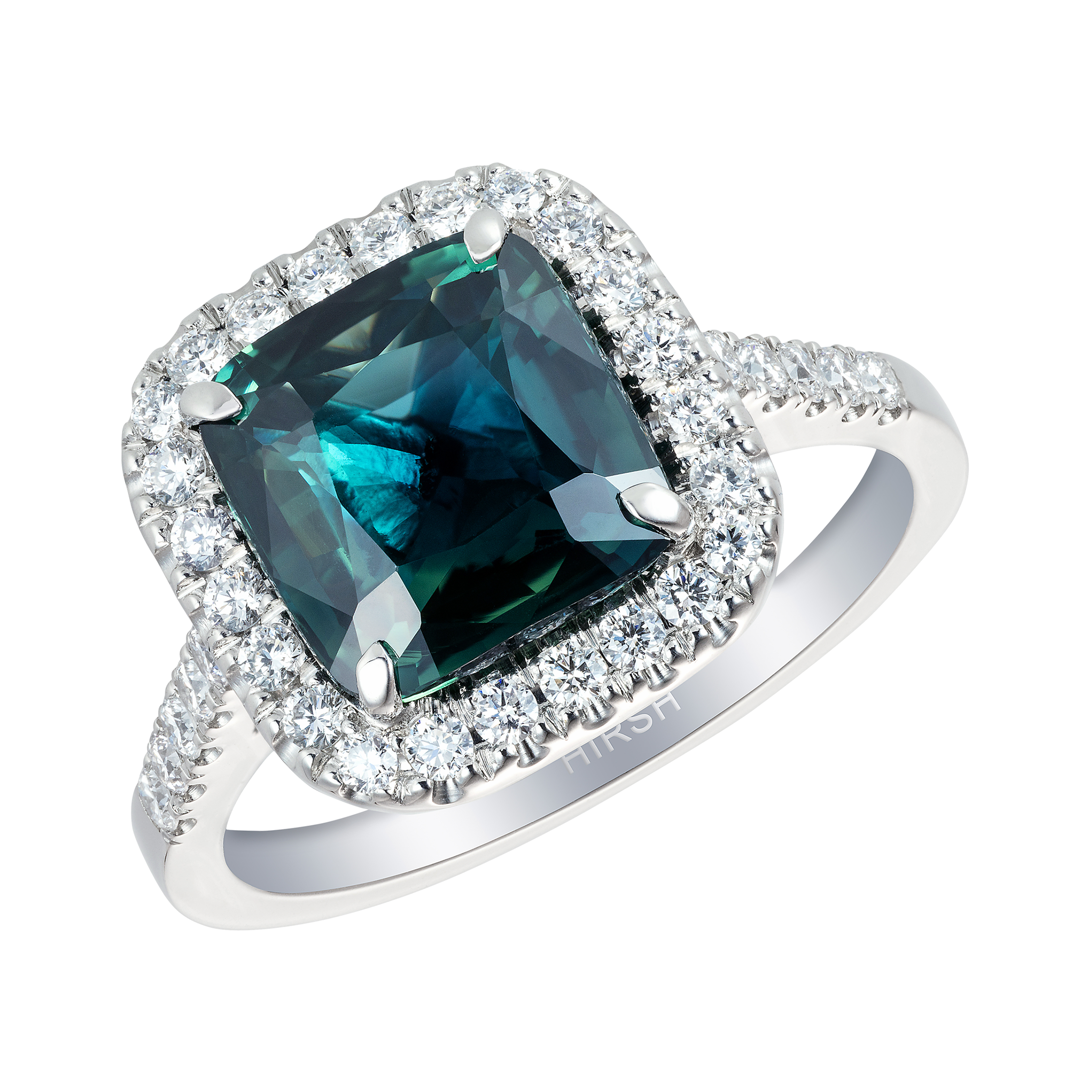 and stone platinum silhouette emerald three green with pave uneek in rings gemstone ring cut shank center