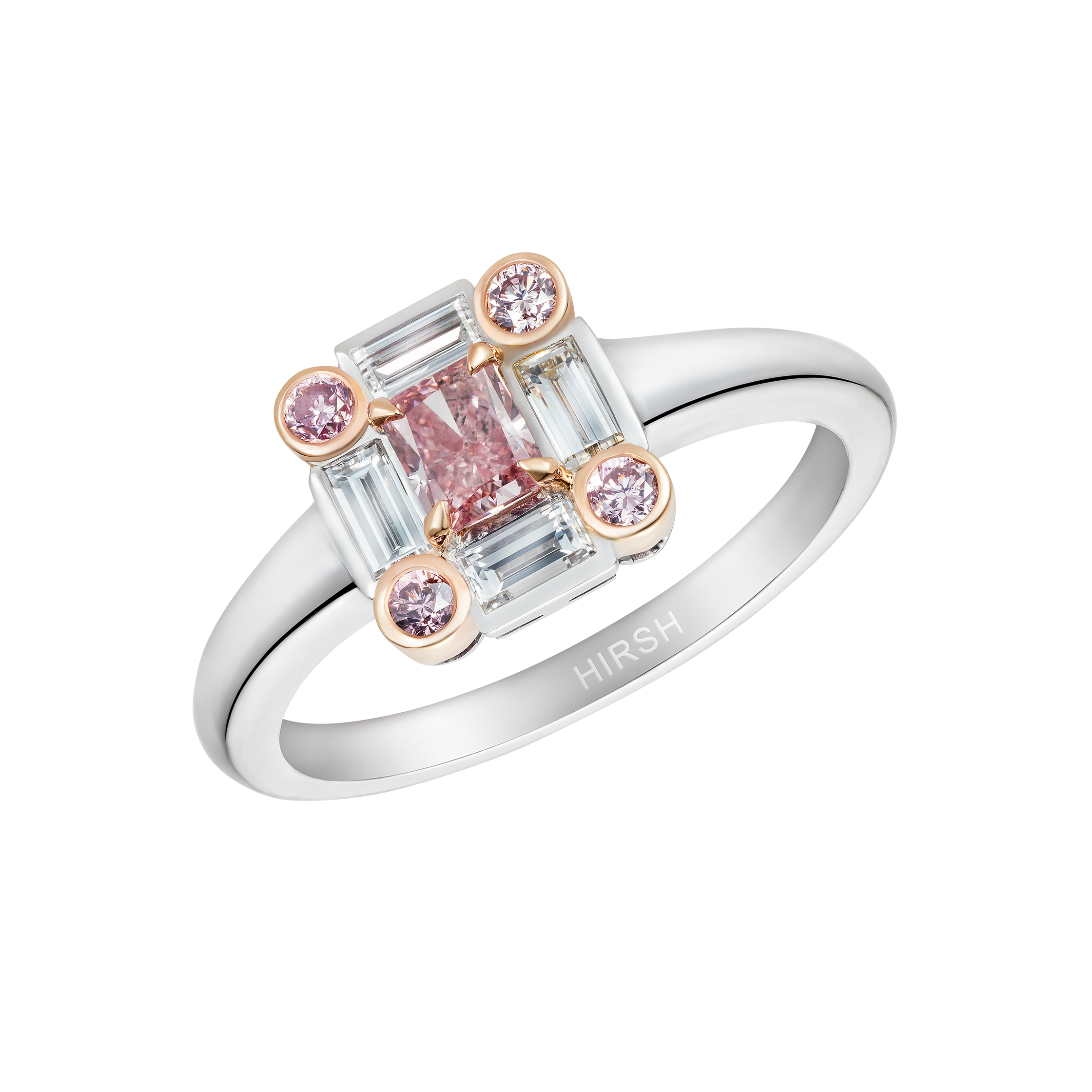 ring tourmaline yg karat with flow and rose pink gold yellow bezel mokum engagement tapered stone mokume rings river catalog gane sandblasted