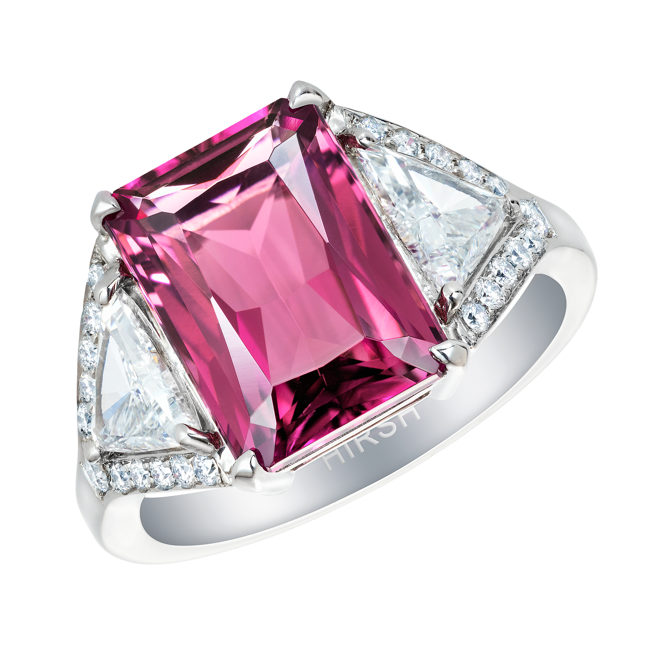 Radient Cut Pink Tourmaline and Diamond Majestic Ring