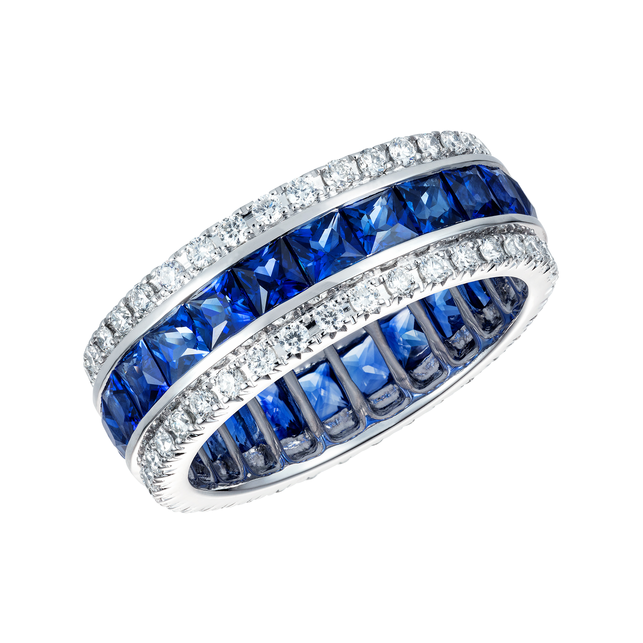 in alternating platinum pav sapphires band french gold white sapphire round diamonds wb melee pave diamond eternity